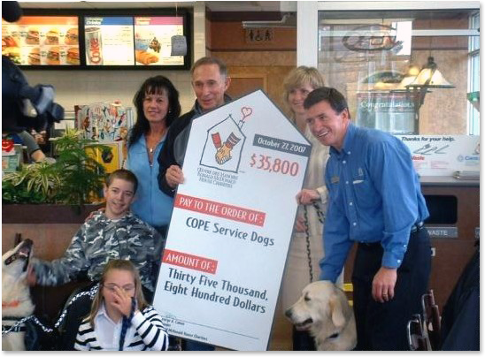 McDonald's Childrens Charities Donation to COPE
